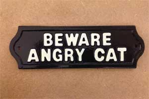 Cast Metal Plaque - BEWARE ANGRY CAT