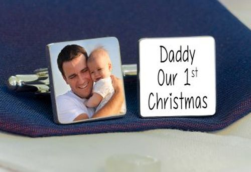Daddy Our 1st Christmas Photo Cufflinks