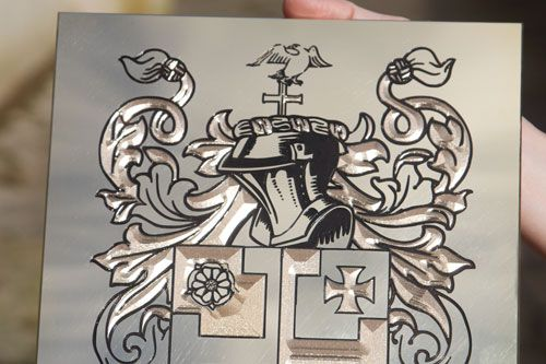 Engraved Family Crest on 2mm Brass
