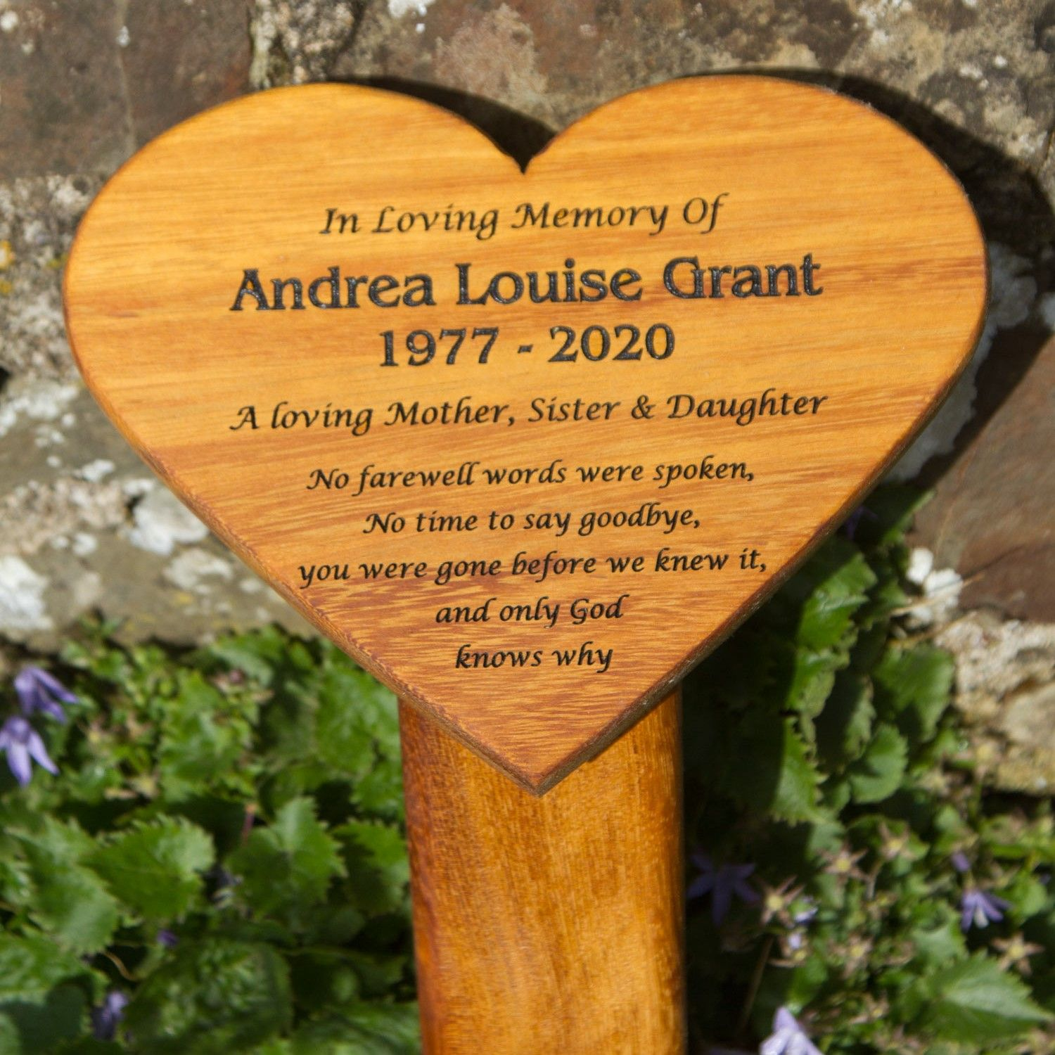 Engraved Wooden Heart Shaped Plaque