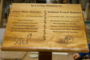 Engraved Wooden Memorial Plaque