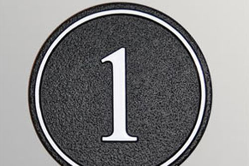 Hand Painted Cast Circular House number Sign STHN10 - Inset Border