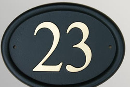 Hand Painted Cast Oval House Number STHN1 - Portrait or Landscape
