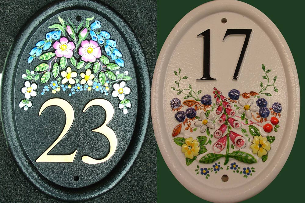 Hand Painted Cast Oval House Number STHN2 - Painted Motrif