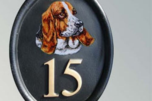 Hand Painted Cast Oval Pet Portrait House Number STX1 - Max 3 Numbers/Letters