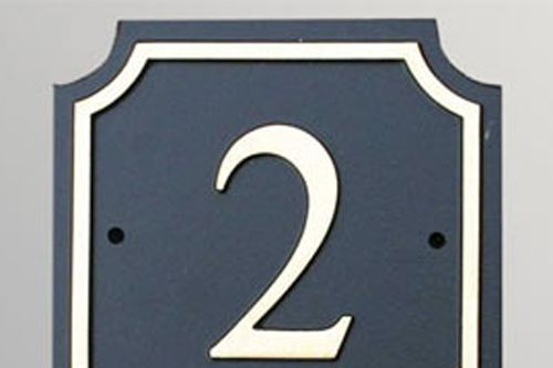 Hand Painted Cast Square Number STHN11 - Scalloped Corners and Inset Border