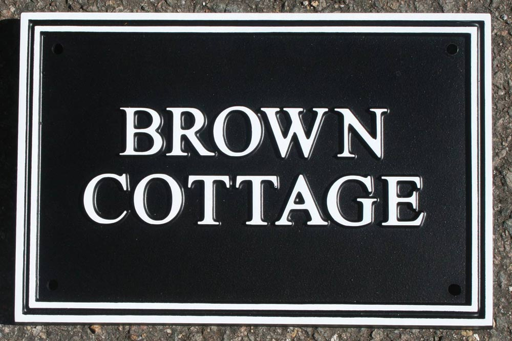 Hand Painted Deep Rectangular Cast Sign STR1 - 1 or 2 lines of Straight Text
