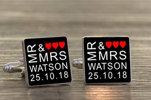 Mr and Mrs Cufflinks with Hearts