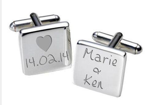 Names and Date Cufflinks with Heart