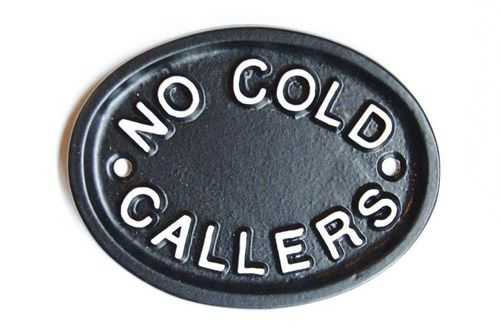 NO COLD CALLERS OVAL SIGN