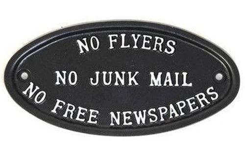 NO FLYERS, NO JUNK MAIL, NO FREE NEWSPAPERS SIGN