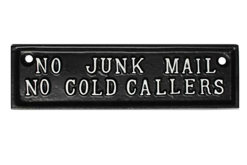 NO JUNK MAIL, NO COLD CALLERS SIGN