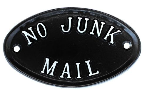 NO JUNK MAIL SIGN OVAL