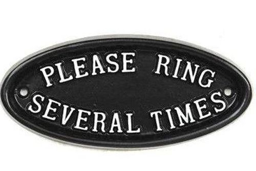 please ring several times bell sign