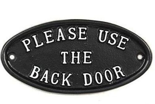 PLEASE USE BACK DOOR OVAL SIGN