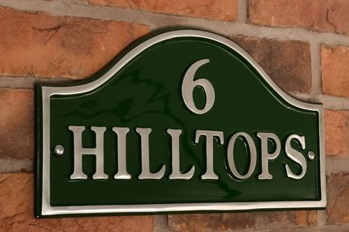 Polished Arch Top Cast Aluminium House Nameplates