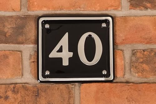 Polished Rectangular Cast Aluminium House Number -  175mm x 150mm PA5
