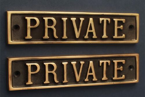 PRIVATE BRASS DOOR SIGN