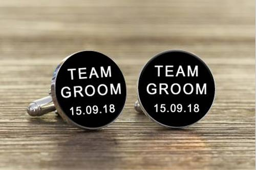 Round Team Groom Cufflinks
