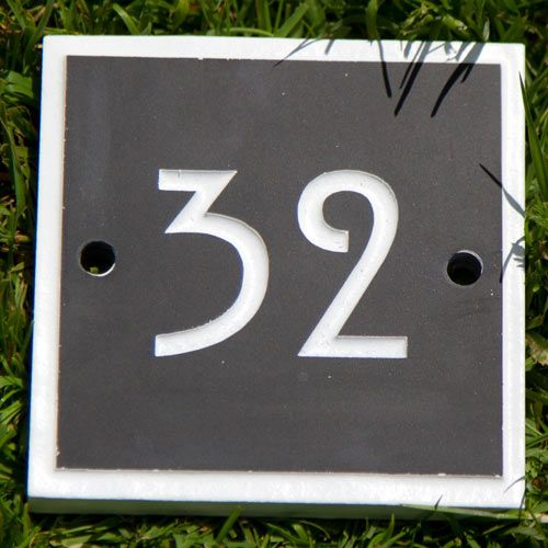 Slate House Number with Painted Border