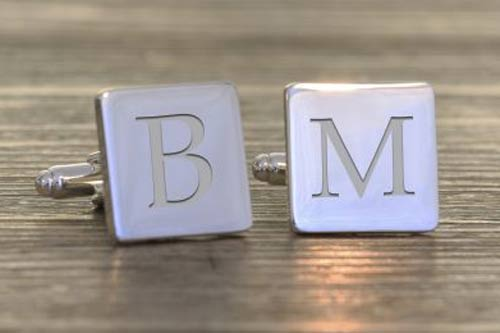 Square Single Initial Cufflinks