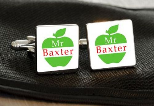 Teacher Cufflinks with apple design