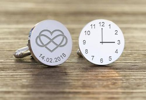 Time and Date Heart Infinity Cufflinks
