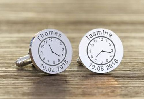 Time, Date & Name Cufflinks