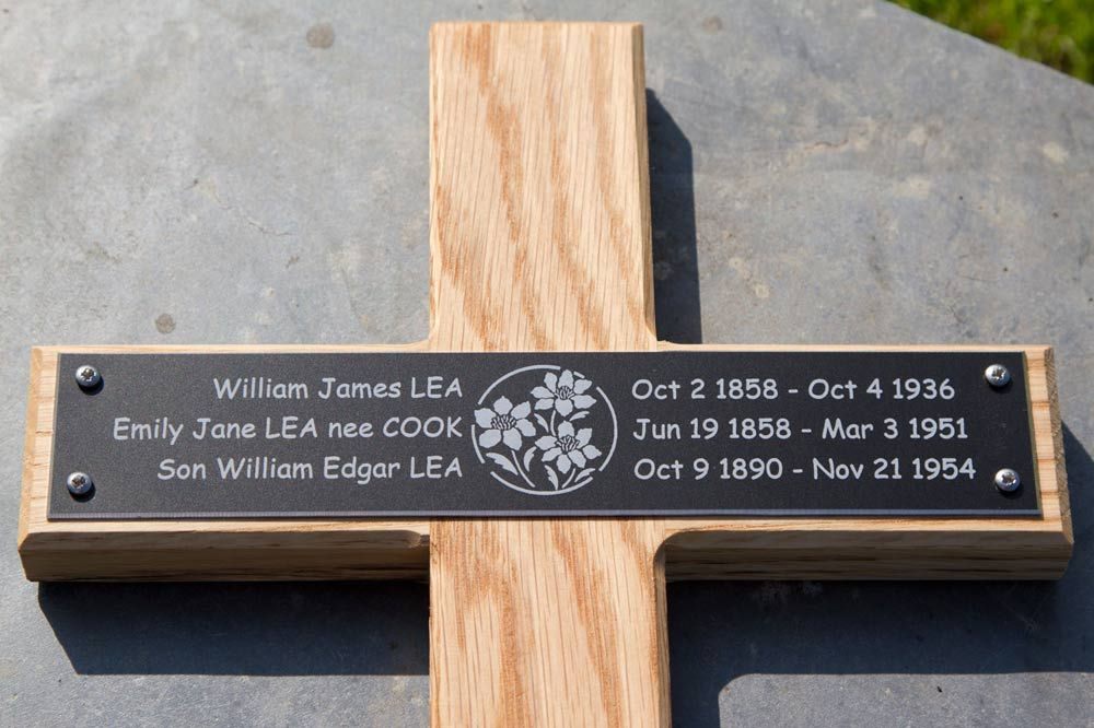 Wooden Crosses With Black Aluminium Plaque