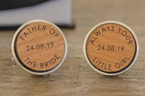 Wooden Cufflinks - Always Your Little Girl