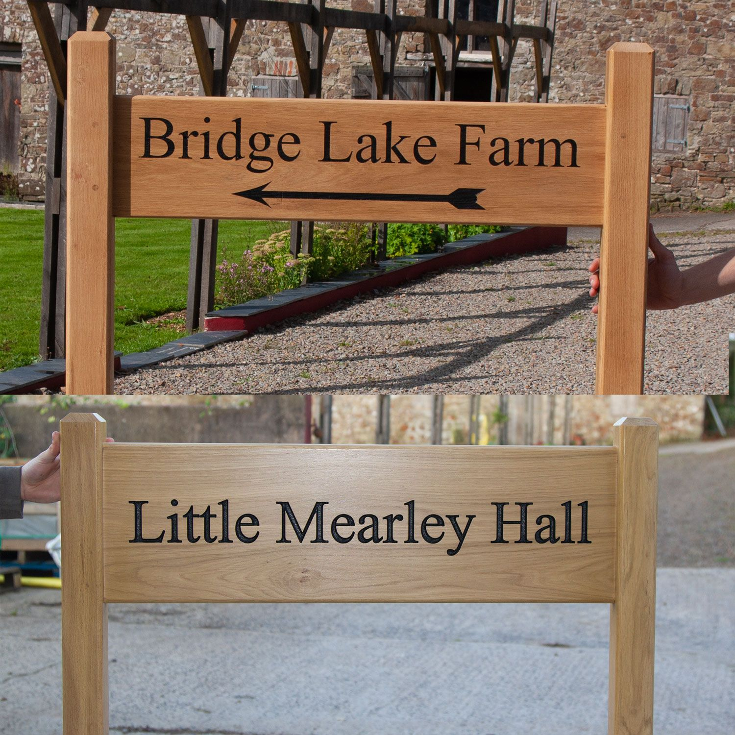 Wooden Entrance Sign morticed into Posts