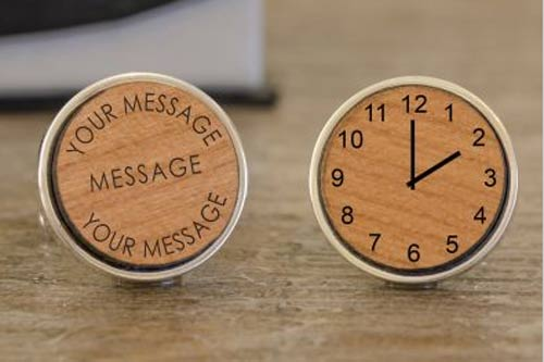 Wooden Message & Clock Cuffllink