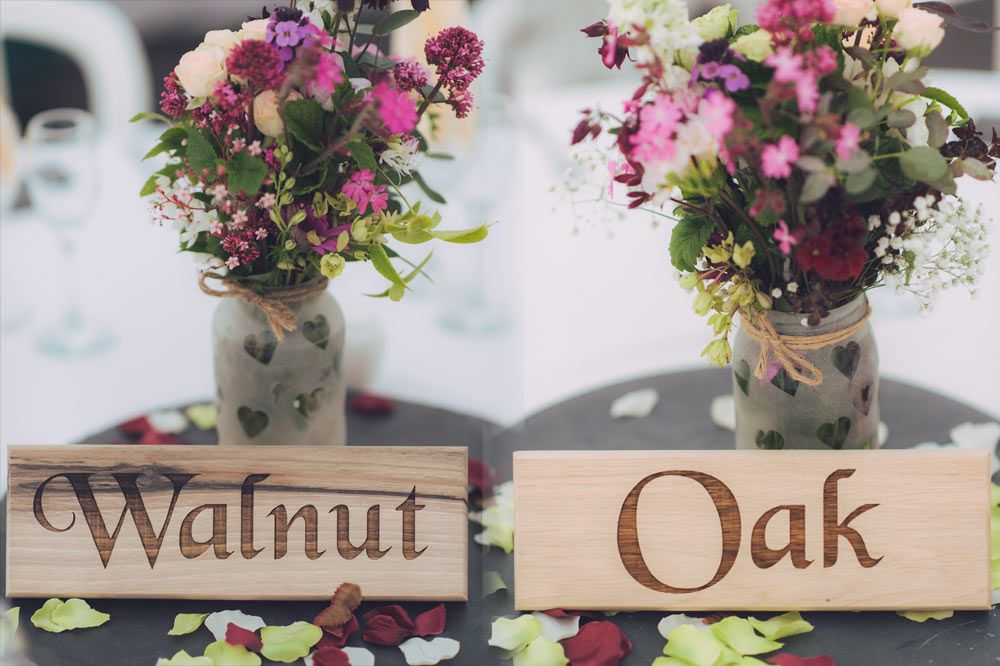 Wooden Wedding Table Name Plates  75mm x 225mm
