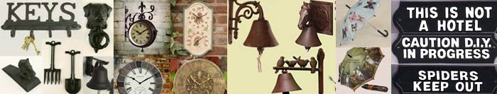 Cast Iron Gifts, Outdoor Clocks, Door Bells, Door Stops, Umbrellas