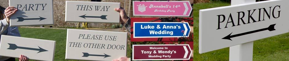 Directional signs for weddings and events