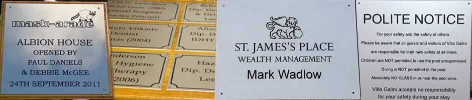 Engraved aluminium plaque