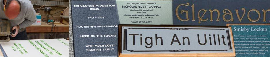 Engraved corian plaques