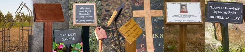 Tree Stakes, Backing Boards, crosses and plaque holders