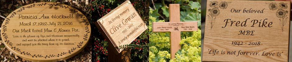 Wooden memorials and memorial plaques